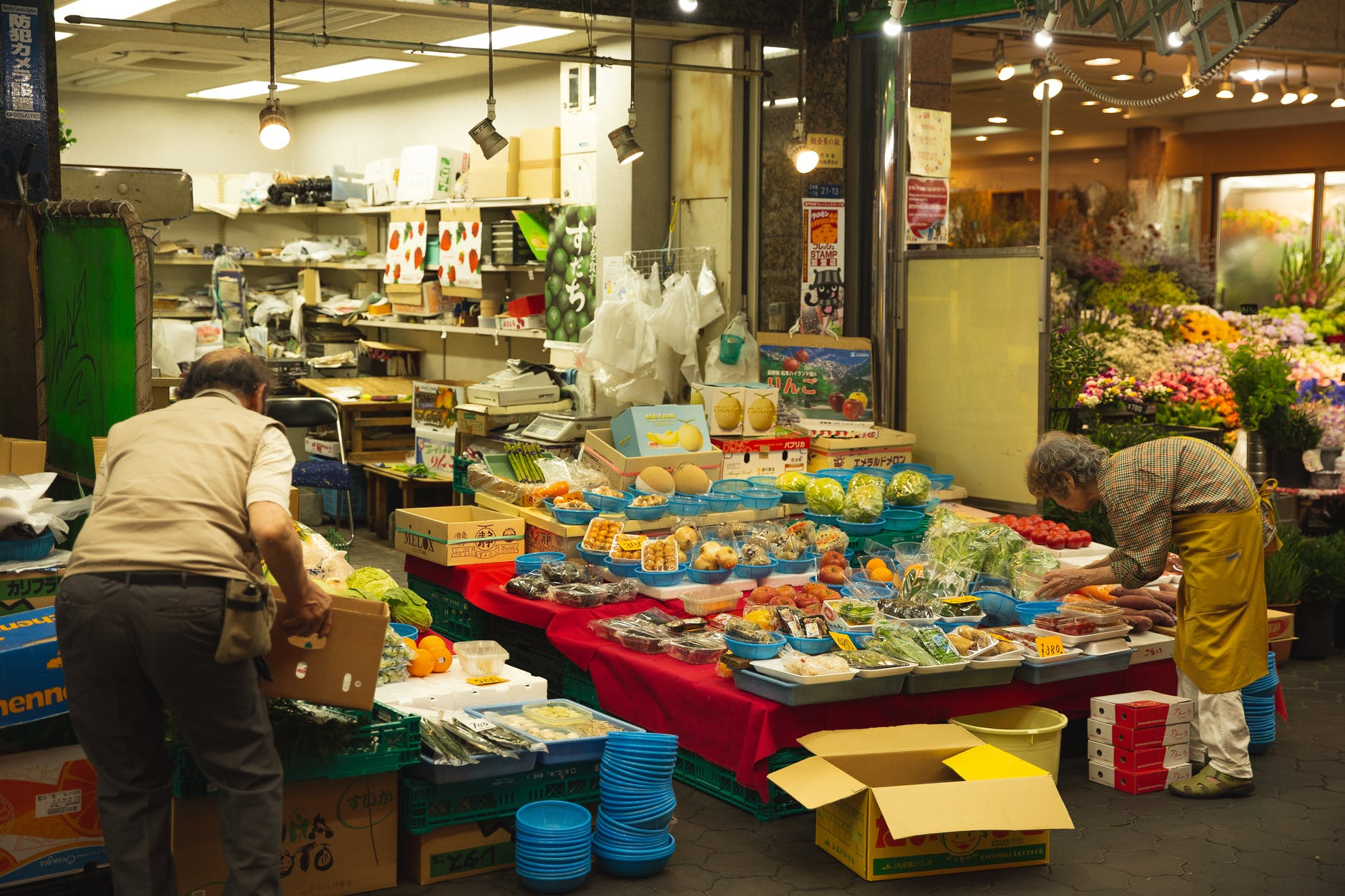 stall with fruits and vegetables in market