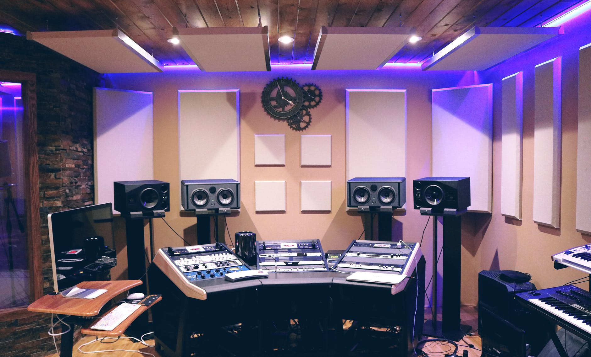 recording studio with ultra violet florescent