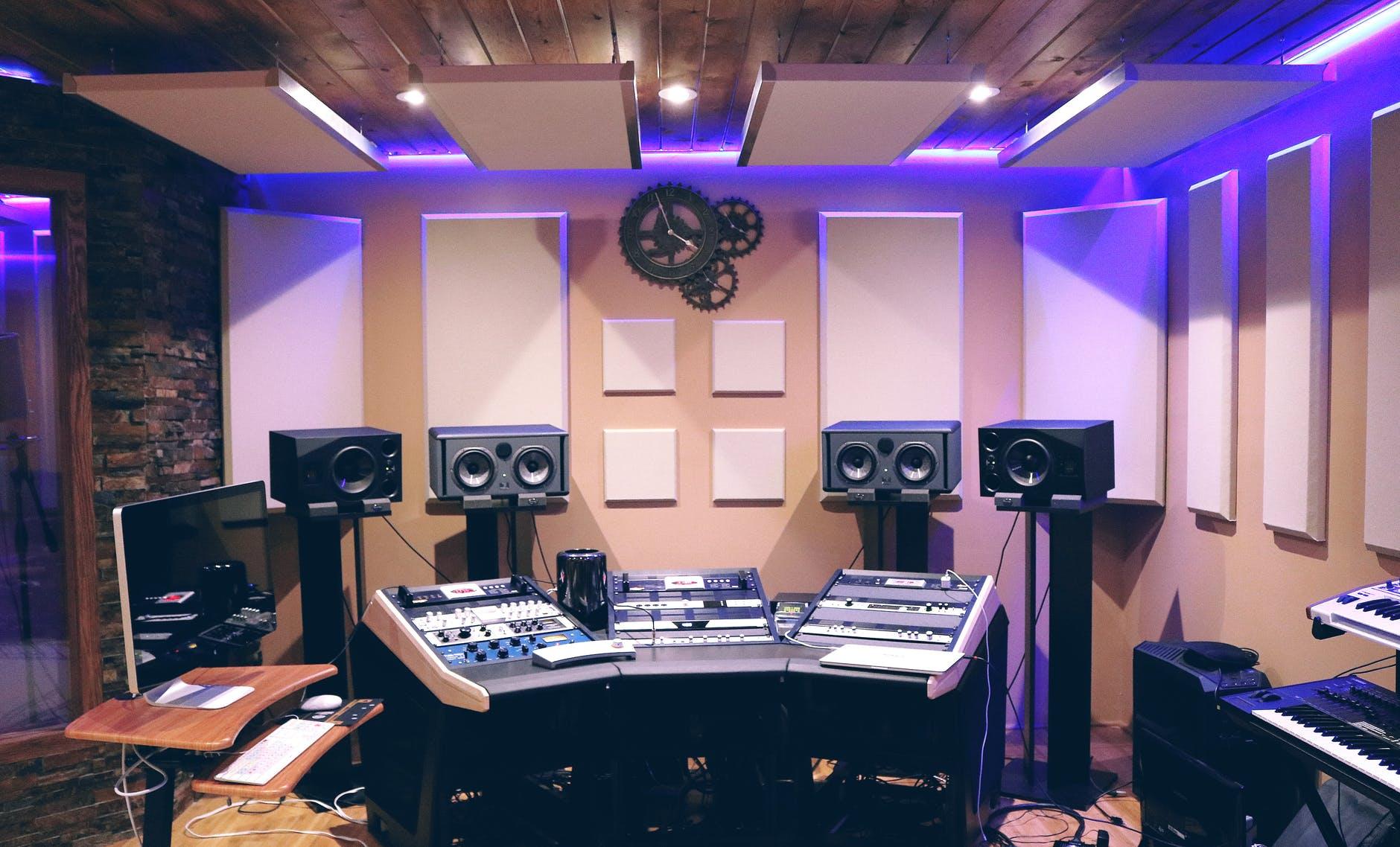 recording studio with ultra violet florescent