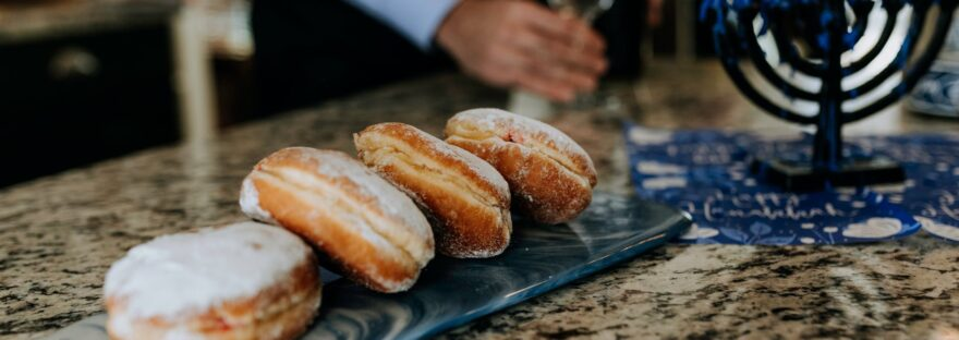 photo of donuts near menorah