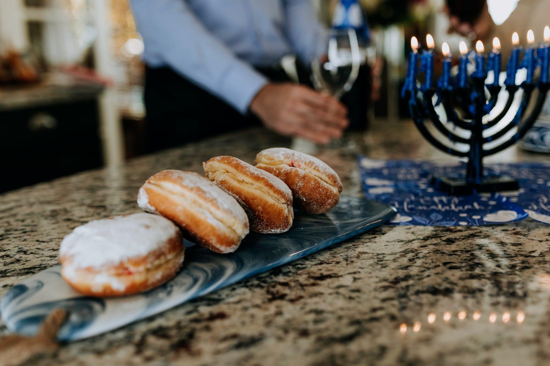 photo of donuts near menorah