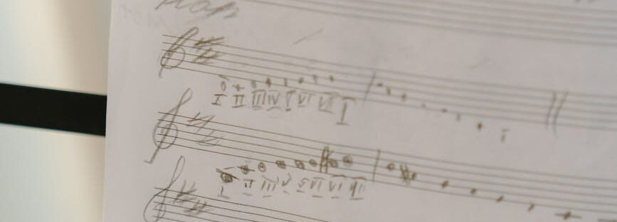 musical notes on white paper